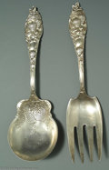Silver Flatware, American:Other , AN AMERICAN SILVER STRAWBERRY PATTERN SALAD SET