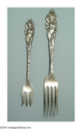Silver Flatware, American:Reed & Barton, TWO AMERICAN SILVER LOVE DISARMED PATTERN FORKS