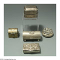 Silver Smalls:Other , FIVE SILVER STAMP AND OTHER BOXES
