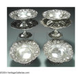 Silver Holloware, American:Tazze, A GROUP OF SIX AMERICAN SILVER STRAWBERRY MOTIF TAZZA