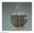 Silver Smalls:Other , AN AMERICAN SILVER STRAWBERRY BASKET TEA STRAINER
