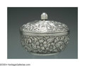 Silver Holloware, American:Boxes, AN AMERICAN SILVER FLORAL REPOUSSE BOX WITH LID