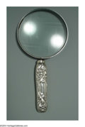 Silver Smalls:Other , AN AMERICAN SILVER CHRYSANTHEMUM PATTERN MAGNIFYING GLASS