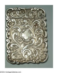 Silver Smalls:Other , AN ENGLISH VICTORIAN SILVER CARD CASE