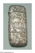Silver Smalls:Other , AN ARCHITECTURAL DECORATED ENGLISH SILVER CIGAR CASE