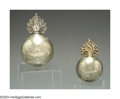 Silver Smalls:Cigar Lamps, TWO ENGLISH SILVER ROUND BALANCED CIGAR LAMPS