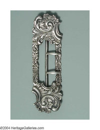 AN AMERICAN SILVER ROCOCO STYLE LADY'S BUCKLE Mark of Shiebler, New York, c.1890  Rectangular form with rococo scrolls...