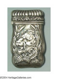 Silver Smalls:Match Safes, AN AMERICAN SILVER FIGURAL SILVER MATCH SAFE