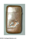 Silver & Vertu:Smalls & Jewelry, A MIXED METAL MATCH SAFE. Mark of Gorham, Providence, Rhode Island, c.1890. Smooth copper body with sterling applied dog l...