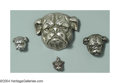 Silver Smalls:Other , FOUR AMERICAN SILVER BULLDOG FORM JEWELRY PIECES