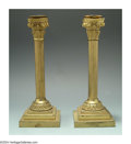 Decorative Arts, Continental:Other , A PAIR OF CONTINENTAL ORMOLU NEOCLASSIC CANDLESTICKS