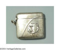 Silver Smalls:Match Safes, AN ENGLISH SILVER BULL DOG MATCH SAFEEnglish hallmarks, c....