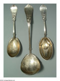Silver Flatware, American:Knowles , THREE AMERICAN SILVER QUEEN PATTERN SERVING SPOONS