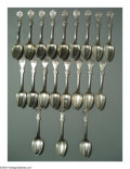 Silver Flatware, American:Durgin, A GROUP OF TWENTY AMERICAN COIN SILVER STRAWBERRY PATTERN ... (20 )