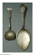 Silver Flatware, American:Knowles , TWO AMERICAN SILVER QUEEN PATTERN SERVING PIECES