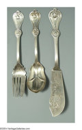 Silver & Vertu:Flatware, THREE AMERICAN COIN SILVER STRAWBERRY PATTERN SERVING PIECES. Mark of Durgin, Concord, New Hampshire, c.1870. The group co... (Total: 3 Item)