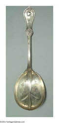 Silver Flatware, American:Coin Silver, AN AMERICAN SILVER STRAWBERRY PATTERN BERRY SPOON