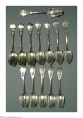 Silver & Vertu:Flatware, A SET OF THIRTEEN AMERICAN SILVER QUEEN PATTERN TEASPOONS. Mark of Knowles & Ladd, Providence, Rhode Island, c.1870. Eight... (Total: 13 Item)