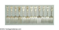 Silver & Vertu:Flatware, A SET OF TWELVE AMERICAN SILVER STRAWBERRY PATTERN STRAWBERRY FORKS. Mark of Durgin, Concord, New Hampshire, c.1890. Straw... (Total: 12 Item)