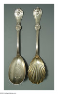 Silver Flatware, American:Durgin, TWO AMERICAN COIN SILVER STRAWBERRY PATTERN SERVING SPOONS