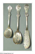 Silver Flatware, American:Durgin, THREE AMERICAN COIN SILVER STRAWBERRY PATTERN SERVING PIECES