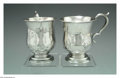 Silver Holloware, American:Coin Silver, A RARE AMERICAN PAIR OF SILVER CUPS