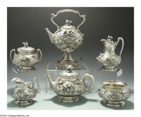 AN AMERICAN SILVER SIX-PIECE BIRD'S NEST PATTERN TEA SERVICE Mark of Tiffany & Co., New York, c.1872  Decorated with...