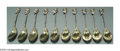 Silver & Vertu:Flatware, TEN AMERICAN SILVER BIRD'S NEST PATTERN SPOONS. Mark of Gorham, Providence, Rhode Island, c.1870. Gold washed shallow oval... (Total: 10 Item)
