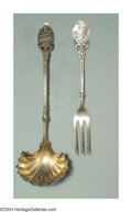 Silver & Vertu:Flatware, TWO AMERICAN SILVER LILY PATTERN SERVERS. Mark of Gorham, Providence, Rhode Island, c.1880. A sauce ladle and three tine f... (Total: 2 Item)