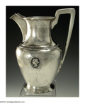 Silver Holloware, American:Water Pitchers, AN AMERICAN SILVER MEDALLION PATTERN WATER PITCHER