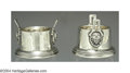 Silver & Vertu:Hollowware, A PAIR OF AMERICAN COIN SILVER MEDALLION OPEN SALTS. Mark of Wood & Hughes, New York, c.1870. Each circular and decorated ... (Total: 2 Item)