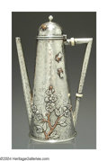 Silver & Vertu:Hollowware, AN AMERICAN MIXED METAL AESTHETIC MOVEMENT COFFEE POT. Mark of Whiting, Providence, Rhode Island, c.1880. Japanese style, ...