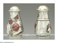 Silver Holloware, American:Mixed Metal, TWO AMERICAN MIXED METAL PEPPER SHAKERS