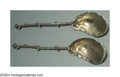 Silver Flatware, American:Gorham, A PAIR OF AMERICAN SILVER AESTHETIC SERVING SPOONS