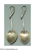 Silver Holloware, American:Other , A PAIR OF AMERICAN SILVER MASTER SALT SPOONS