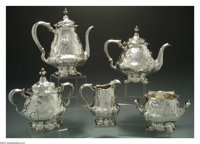 AN AMERICAN SILVER FIVE PIECE MARTELE TEA SERVICE Mark of Gorham, Providence, Rhode Island, c.1905  The service comprise...