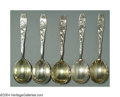 Silver Flatware, American:Whiting, A SET OF FIVE AMERICAN SILVER BERRY PATTERN SERVING SPOONS
