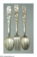 Silver Flatware, American:Whiting, A GROUP OF THREE AMERICAN SILVER BERRY PATTERN FLATWARE