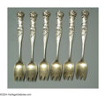 Silver Flatware, American:Shiebler, A SET OF SIX AMERICAN SILVER FLORA PATTERN ICE CREAM FORKS