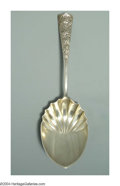 Silver Flatware, American:Shiebler, AN AMERICAN SILVER CHRYSANTHEMUM PATTERN SERVING SPOON