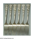 Silver & Vertu:Flatware, A SET OF SIX CHRYSANTHEMUM PATTERN DINNER FORKS. Mark of Shiebler, New York, c.1880. The patterned ground with two chrysan... (Total: 6 Item)