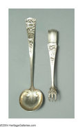 Silver & Vertu:Flatware, AN AMERICAN SILVER CHRYSANTHEMUM PATTERN SAUCE LADLE AND PAIR OF SUGAR TONGS. Mark of Shiebler, New York, c.1890. The bowl... (Total: 2 Item)