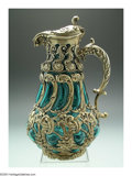 Silver Holloware, American:Pitchers, AN AMERICAN GILT SILVER AND GLASS WINE EWERMark of Whiting,...