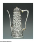 Silver Holloware, American:Coffee Pots, AN AMERICAN SILVER DEMITASSE COFFEE POT
