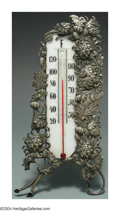 Silver Smalls:Other , AN AMERICAN SILVER-MOUNTED CHRYSANTHEMUM PATTERN THERMOMETER