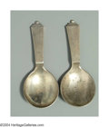 Silver Flatware, Continental:Flatware, TWO DANISH SILVER PYRAMID PATTERN TEA CADDY SPOONS