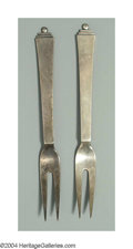 Silver & Vertu:Flatware, A PAIR OF DANISH SILVER PYRAMID PATTERN TWO TINE FORKS. Mark of Georg Jensen, Copenhagen, c.1945. No monogram, light patin... (Total: 2 Item)