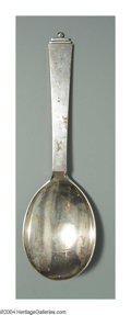 Silver Flatware, Continental:Flatware, A DANISH SILVER PYRAMID PATTERN BERRY SPOON