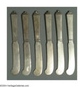 Silver & Vertu:Flatware, SIX DANISH SILVER PYRAMID PATTERN BUTTER SPREADERS. Mark of Georg Jensen, Copenhagen, c.1945. No monogram, light patina, ... (Total: 6 Item)
