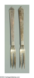 Silver Flatware, Continental:Flatware, A PAIR OF DANISH SILVER PYRAMID PATTERN SERVING FORKS